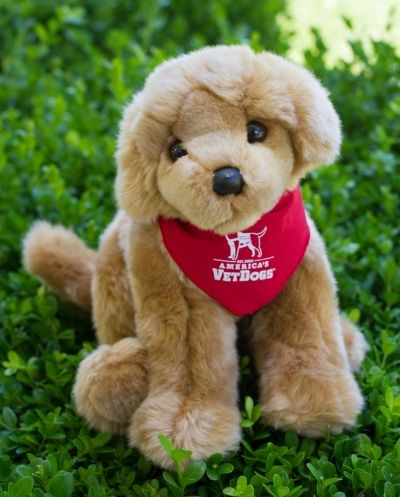 America's VetDogs Golden Retriever Plush Puppy Red Bandana