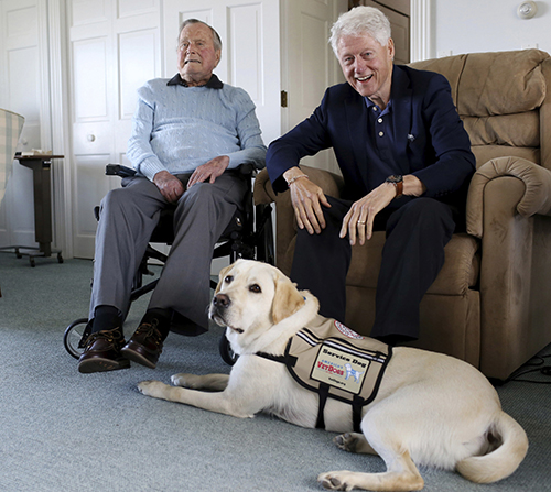 President Bush and Clinton with Sully.