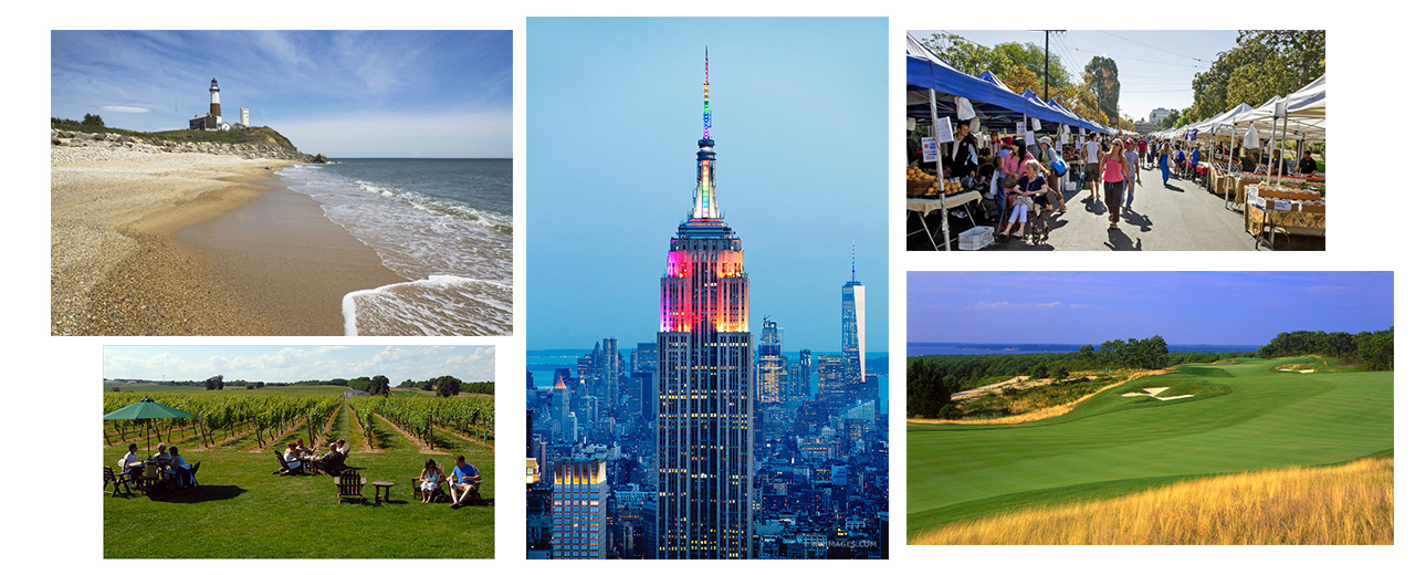 A collage of images showcasing various things to do on Long Island.