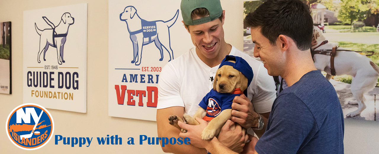 Islanders players hold the yellow lab pup chosen to be their pup with a purpose.