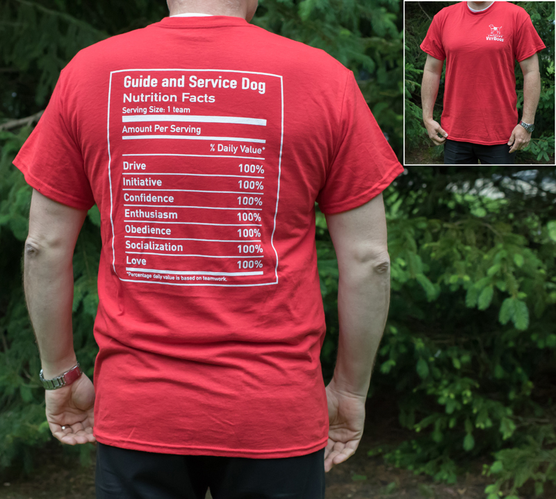 "AVD Red T-Shirt ""Nutrition"" facts on back S"